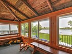 Enjoy a beverage on the screened in porch.