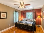 King size bed (super comfortable) in the main floor master with blinds and ceiling fan