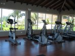 Resort has modern gym and tennis courts