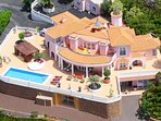 Villa Monaco from the sky with her spacious terrace and panoramic views to the coast and the ocean.