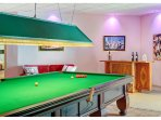 Full size snooker table in the party room