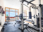 Gym Fitness Room:Treadmill, bicycle, bench multifunction with weights, boxing bag, skipping rope