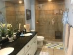 MASTER BATH WITH HIS AND HER SINKS AND LARGE WALK IN SHOWER