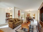"""One Of Three Gathering Spaces In the Home. This One Features 55"""" LED TV With 200+ Cable"""