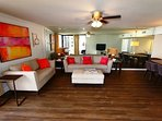 Living Room w/ Gulf Views & Balcony Access