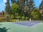 Court is available from spring to fall weather permitting.  We can provide rackets and balls.
