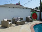 Private pool with several different seating areas perfect for larger groups.