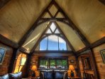 Vaulted Ceiling with Exposed Trusses