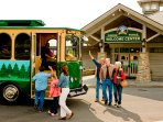 Trolley services are available to transport to and from attractions all over the town
