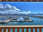 The balcony offers unprecedented views of the boats in the bay, as well as the mountains in the distance.