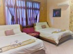 Deluxe Twin Queen Beds with  spa shower room