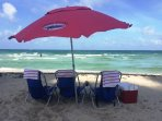 Beach Chairs, Towels, Umbrella, Cooler included in Rental