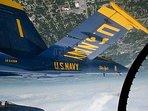 U.S. Navy Blue Angels over Pensacola Beach inverted