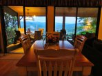 Indoor dining table with view