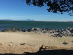 Gordon's Bay beach located 70 metres from the apartment.  Looking at the back of Table Mountain