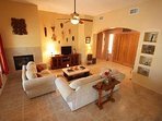 Spacious Living Room with fireplace, satelite tv with free Netflix