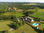 Ariel view of Our Luxury cottage and the Manor house, Les Charmes de Carlucet next door