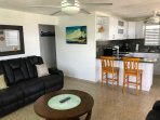 Bright Sunny Living Room & Kitchen with Breakfast Bar & Caribbean Sea views