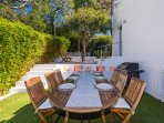 Teak Dining Table seats 8 with parasol and deluxe gas BBQ.