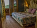 Chalet 3, Indigo Bedroom: King-size bed, terrace view