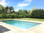 gunite 20-x40 heated pool with large sunny lawn and garden
