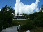 Coconut Cabana from your private dock on White Sound, Abaco, Bahamas.