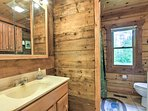 The cabin has 1 full bathroom with all of the linens you'll need during your stay.