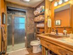 Freshen up in the full bathroom with walk-in shower.