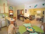 Spacious living area with island décor!