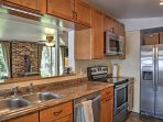 Granite countertops provide plenty of space to whip up recipes.