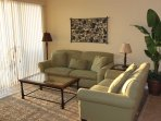 Cushioned Seating includes sleep sofa love seat and 2 tub chairs