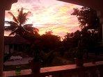 Sonnenuntergang auf der Veranda