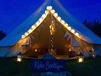 Guests may camp out in the teepee, mattresses and sleeping bags are provided to enjoy the night sky.