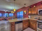 Kitchen with a view and all new stainless steel appliances.