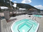 Two commercial grade hot tubs with huge mountain and ski slope views.  Perfect place for apres ski!