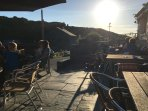 Typical sunset on the terrace at The Sloop, Porthgain
