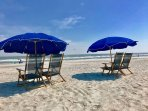 Beautiful beach with on-site chair and umbrella rentals.