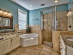 King suite master bath with jetted tub and separate shower.