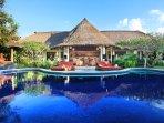 Bali Akasa Villa's large kidney shaped pool.