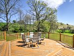 Spend the bulk of your time outside on the deck enjoying the great outdoors.