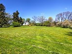 A vast grassy area provides a plethora of space to run around and play on.