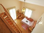 Double bed bedroom and mezzanine with single bed