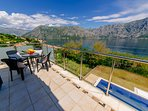 Balcony with views of Boka Bay and Lovcen Mountains