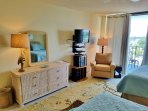 the guest bedroom, has a private balcony with Lagoon views, flat screen, 2 comfortable beds, luxury