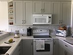 Lots of space and every convenience in the new kitchen make cooking by the ocean a delight!