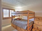 The second bedroom has a full-over-full bunk bed and twin-sized trundle.