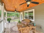 This 1-bedroom, 1-bathroom cottage in Crystal River overlooks a beautiful acre.