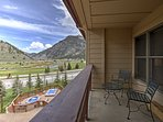 From the private balcony, you can enjoy views of the mountains and golf course.