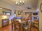 Gather around this dining table to enjoy your meals with the group.