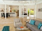 Lounge in your breezy living room with contemporary decor
